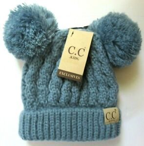 CC Kids Beanies Double Pom Pom Cable Knit Toboggan 4 To Choose From XS/S NWT