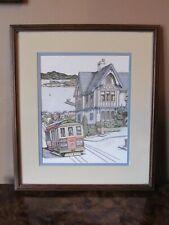 Vintage Debbie Patrick Signed Watercolor Print~San Francisco Cable Car Scene