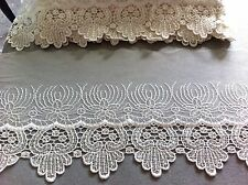 1M WHITE EMBROIDERED LACE TRIM WITH CLEAR SEQUINS 190mm WIDE