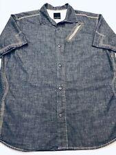 Sean John Shirt/Button Men Sz.XXXL-Cotton-Chambray Blue-SS-Zip Pkt