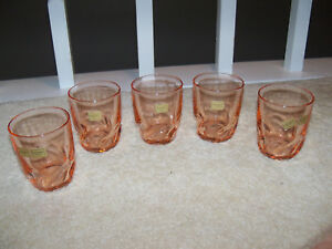 Lot 5 vtg Luminarc Verrerie D'arques Rosaline pink swirl Drinking Glasses