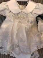 Baby Girls Christening Dress Off White Satin Gown 0-24 Months Bloomers & Bonnet