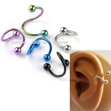 16G Mixed Color Stainless Steel Flexo Twist Ear Helix Cartilage Earrings Lot