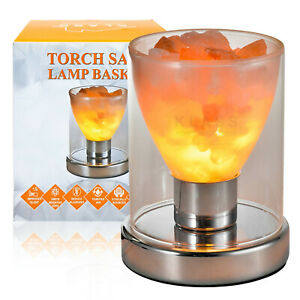 TORCH SHAPE NATURAL HIMALAYAN SALT LAMP DIMMER IONISER RELAX PINK ROCK CRYSTAL