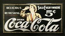 "Dollhouse Miniatures Metal Sign Advertising Coke 5c COCA COLA 3 1/4"" x 1 5/8"""