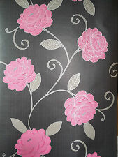 NEW Black and Pink Flower Wallpaper
