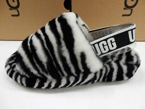 UGG Womens Fluff Yeah Slide Zebra Black White 7