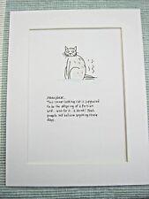 "HONEYBEAR CAT Mounted Print 9x7"" Art Picture Cartoon Humour CATS"
