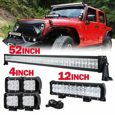 "52"" 700W CREE LED LIGHT BAR COMBO+12"" 72W+4"" 18W WORK PODS for JEEP CJ LJ JK TJ"