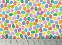 Vintage Rainbow Colorful Easter Eggs Toss ~ 100% Cotton Craft Quilt Fabric BTY