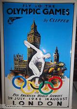 """OLYMPIC GAMES LONDON 1948/ PAN AM AIRWAYS, EMBOSSED(3D) METAL SIGN, 12""""X 8"""""""