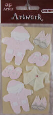 Baby Girl Clothes Set. Artoz Card Embellishments Pink and White