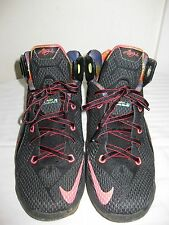 2014 Youth Nike LeBron XII 12 Data Black Mango Hyper Punch Volt Size 5Y