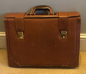 Gucci Vintage Hard Tan Leather Briefcase / Document Bag, Men's / Unisex