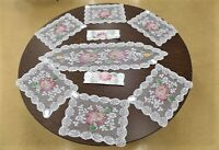 9 Piece Set of Floral Lace Placemats and Runner