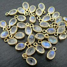 Rainbow Moonstone Gold Plated Sterling Gemstone Connector Pair Semi Precious