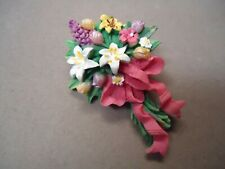 Carved Colorful Resin Flower Bouquet Garden Theme Brooch Pin