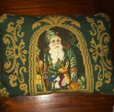 Beautiful Christmas  Embroidered Throw Pillow With Traditional Santa.