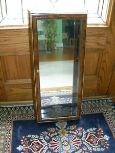 Polished Brass and Burl Wood Lacquer Finish Hanging Mirrored Display Case