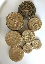 Vintage SWEET GRASS Woven BOHO Wicker Container Nesting Baskets SET of 4 w/ lids