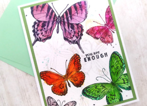 Handmade Greeting Card You are Enough Encouragement Butterflies A2 Size