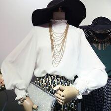 Women Lolita Chiffon Shirt Blouse Ruffle Puff Sleeve Casual Loose Top Retro New