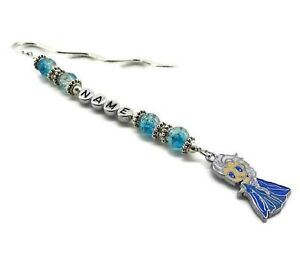 PERSONALISED BOOKMARK ANY NAME CRYSTAL ICE FROZEN BEADS CHARM GIFT