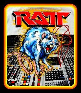 "RARE! 4.5"" RATT glossy vinyl sticker. Vintage style heavy metal guitar decal."