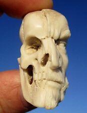 Schädel , Januskopf , skull aus Horn geschnitzt memento mori - Wunderkammer !