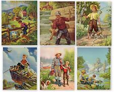 GENUINE LOT 6 VINTAGE CALENDAR PRINT 1940S FISHING CHILDREN ILLUSTRATIONS DOG