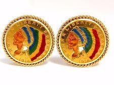 1914 (2) .999 Blp Us Liberty Oro Gemelos con Moneda Esmalte Detalle Soga