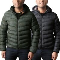 Mens Padded Quilted Hooded Jacket Coat Warm Winter Camouflauge Camo Puffa SHELL