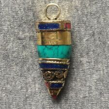 PD- 308 Nepalese Handmade Tibetan Bullet Design Turquoise Coral Lapis Brass