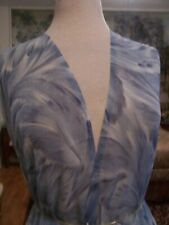 5yds Gorgeous Designer Fabric Blue Shaded Print Of Feathered Leaves Chiffon
