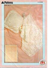 Patons 4219 Vintage Baby Knitting Pattern DK Shawl Blanket Pillow