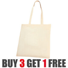 10 Pack of Natural Cotton Shoppers Tote Bag Canvas Shopping Shoulder Plain New
