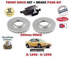 FOR HYUNDAI COUPE KG 1.6 2.0 F2 EVO 1996-9/1998 FRONT BRAKE DISCS SET + PADS KIT