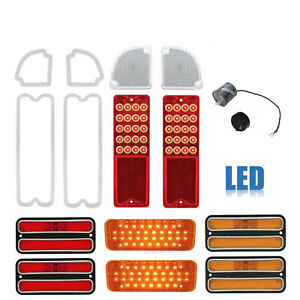 71-72 Chevy GMC Truck LED SEQUENTIAL Red Tail Marker Park Light Lenses Set NH