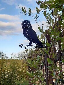 Barn Owl On Branch Bird Silhouette Metal