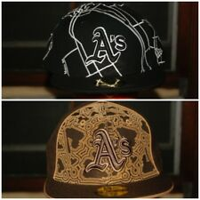 MLB New Era Oakland A's Athletics Fitted Hat Brown Black 7 1/8 1/4 5/8  7/8