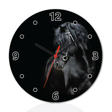 fe5f72ff626 Black Horse Animal Wood Wall Clock Home Office Room Decor Gift Round