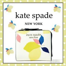 🌸  NWT Kate Spade Cameron Lemon Zest Small L-zip Bifold Leather Wallet New $129