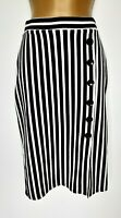 Black And White Striped Skirt Sz 10 Vgc! Stretchy Pencil Midi Work Career
