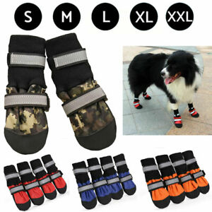 4 Pcs Dog Shoes Boots Paw Cover Protectors Shoes Strap Anti-Slip Waterproof Boot