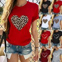 Women Valentine's Day Short Sleeve T Shirt ONeck Leopard Heart-shaped Print Tops