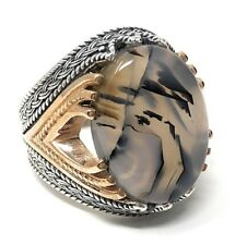Rare Find 925K STERLING SILVER Yemeni AGATE(Aqeeq)  MEN'S RING  USA SELLER P5C