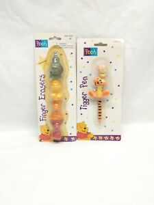 Winnie The Pooh Tigger Pen & Finger Eraser lot NEW OLD STOCK Collectible NOS