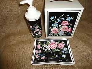 SPRINGS 3PC LOTION, SOAP & TISSUE BOX COVER SET BLACK PINK BLUE FLORAL