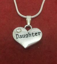Daughter Necklace Heart Silver Plated cute charm pendant and chain 18inch
