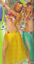 SET ensemble hawai 6 pieces jupe 75 cm couleur VERTE a fleurs deguisement hawaii